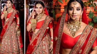 Bhojpuri Queen Monalisa Turns Hot Bride in Red Lehenga For Her Latest Photoshoot - Check Pictures