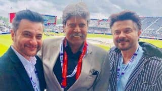 Anil Kapoor And Sanjay Kapoor Pose With Kapil Dev at Ind vs NZ World Cup Semi-Final Match