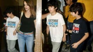 Sussanne Khan, Kids Hridhaan And Hrehaan Step Out For Super-30 Movie