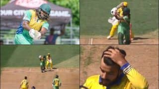 Chris Gayle Smashes Shadab Khan For 32 Runs Including Four Sixes in an Over in GT20 Canada Match Between Vancouver Knight And Edmonton Royals | WATCH VIDEO