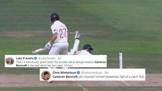 Cameron Bancroft Takes a Splendid Catch to Dismiss Rory Burns During 2nd Ashes Test Between England-Australia, Twitter in Utter Disbelief | WATCH VIDEO