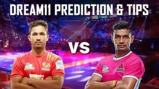Dream11 Team GUJ vs JAI Pro Kabaddi League 2019 - Kabaddi Prediction Tips For Today's PKL Match 44 Gujarat Fortunegiants vs Jaipur Pink Panthers at EKA Arena by TransStadia in Ahmedabad