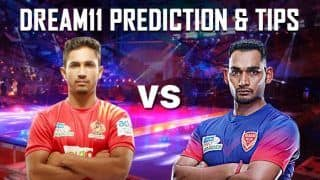 Dream11 Team GUJ vs DEL Pro Kabaddi League 2019 - Kabaddi Prediction Tips For Today's PKL Match 20 Gujarat Fortunegiants vs Dabang Delhi K.C. at Dome, NSCI SVP Stadium in Mumbai