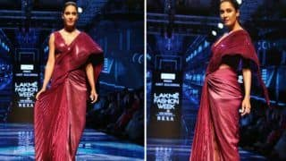 Lisa Haydon Ups The Fashion Game at Lakme Fashion Week as She Walks The Ramp in Metallic Drape Gown