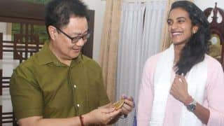 Sports Minister Kiren Rijiju Meets Newly Crowned World Champion PV Sindhu