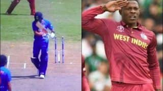 Virat Kohli's Middle Stump Goes Cartwheeling, Sheldon Cottrell Gives Signature Salute During 2nd T20I Between India-West Indies | WATCH VIDEO