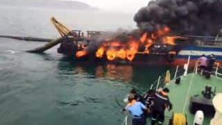Fire Breaks Out on Offshore Support Vessel Coastal Jaguar in Visakhapatnam, 28 Crew Members Rescued From Sea