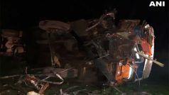 कंटेनर ट्रक और बस की आमने-सामने की टक्कर में 13 लोगों की मौत, 15 घायल