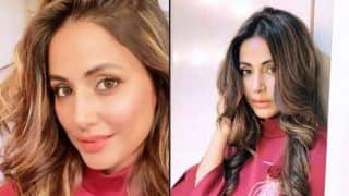 Hina Khan Can't Stop Clicking Hot Pictures in Her Vanity, Sizzles in Maroon Dress