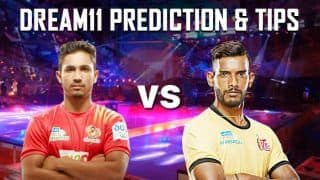 Dream11 Team Gujarat Fortune Giants vs Telugu Titans Pro Kabaddi League 2019 - Kabaddi Prediction Tips For Today's PKL Match 37 GUJ vs TEL at EKA Arena by Transstadia, Ahmedabad