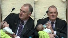 Viral Pictures of NZ Parliament Speaker Babysitting an MP's Newborn Son During Debate Wins Hearts