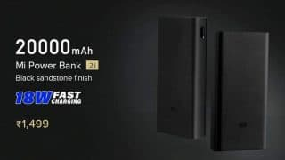 Xiaomi launches 20,000mAh Mi Power Bank 2i with 18W fast charging in India