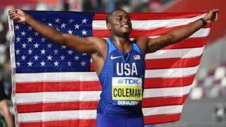 WATCH: Christian Coleman clocks 9.76 to win 100m title at World Athletic Championships
