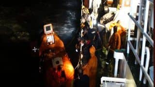 Indian Coast Guard Amartya Rescues 13 People From Flooded Dredger Near Mangalore Port