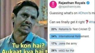 Rajasthan Royals TROLLED Over a Weird Poll on MS Dhoni Retirement Rumour | SEE POSTS