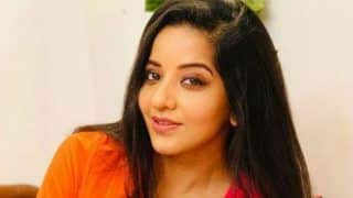 Bhojpuri Sizzler Monalisa Strikes a Sexy Pose in Orange-red Dress And It Will Make You Gush Over Her