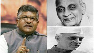 केंद्रीय मंत्री रविशंकर प्रसाद बोले- जम्मू कश्मीर मुद्दे से निपटने में पटेल सही थे, नेहरू गलत
