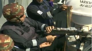 Defence Minister Rajnath Singh Fires Medium Machine Gun Onboard INS Vikramaditya | WATCH