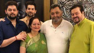 Rishi Kapoor is All Smiles as he Visits Neil Nitin Mukesh For Ganpati Visarjan - See Pics