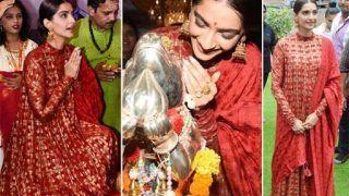 Sonam Kapoor Slays Red Hot Look as She Seeks Blessings For The Zoya Factor