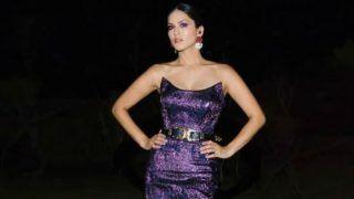 Bollywood Hottie Sunny Leone Looks Radiant in Shimmery Purple Dress