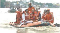 PM मोदी के संसदीय क्षेत्र में आई बाढ़, बोट में सवार होकर लोगों का हाल जानने पहुंचे CM योगी, देखें Video