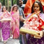 Arpita Khan Sharma Wears a Stunning Purple Sabyasachi Suit While Bringing Bappa Home on Ganesh Chaturthi - Pics
