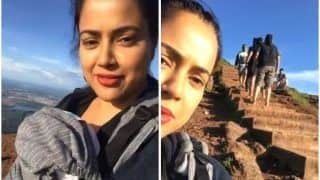 Sameera Reddy Leaves New Moms Inspired as She Climbs Karnataka's Tallest Peak With Nyra Strapped on