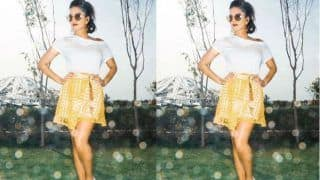 Sunny Leone Shows Off Her Toned Legs in a Flirty Yellow Skirt as She Steps Out on The Sets