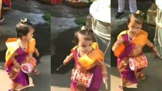 Little Girl Playing Drums And Dancing to The Beats Dressed as Marathi Mulgi Make Twitter go All Cute - Viral Video