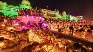 Record 6 Lakh Diyas Lit on Saryu Riverbank in Ayodhya on Eve of Diwali