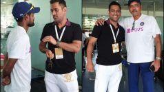 रांची में टीम इंडिया से मिले एमएस धोनी; शाहबाज नदीम, रवि शास्त्री से बातचीत की
