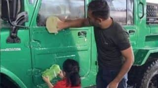 Ziva Helps Daddy Dhoni to Wash Jeep as Cute Video Goes Viral