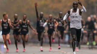 Kenya's Eliud Kipchoge Creates History As He Becomes First To Race A Marathon in Under Two Hours
