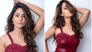 Hina Khan Dons Sexy Maroon Bodycon Dress But Her Sultry Expressions is What Will Win Your Heart