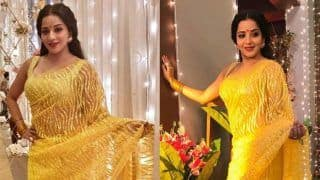 Bhojpuri Hot Bomb Monalisa Looks Super Sexy in Bright Sheer Yellow Saree, Wishes Fans 'Happy Dhanteras'