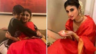 Mouni Roy Dolls up in Simple Red Cotton Saree For Diwali, Celebrates Festival With Mandira Bedi
