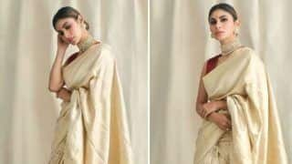 Mouni Roy Looks Ethereal as She Flaunts Her 'Bongo Bala' Avatar in Golden Silk Saree This Durga Puja
