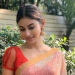 Bengali Hottie Mouni Roy Looks Ravishing in Red-golden Saree as She Wishes Fans 'Shubho Bijoya'