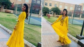 Haryanvi Sizzler Sapna Choudhary Looks Hot in Yellow Ethnic Gown as She Celebrates Diwali With Diyas And Rangoli