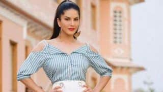 Sunny Leone Looks Hot And Sexy in Cold-shoulder Top And White Shorts But Her 'Wild Cherry' Lipstick is Stealing The Show