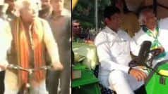 HaryanaAssemblyPolls 2019: मनोहर लाल खट्टर साइकिल पर तो दुष्यंत चौटाला ट्रैक्टर पर सवार होकर वोट डालने पहुंचे