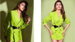 Urvashi Rautela Looks Super Hot in Neon Blazer Dress as She Dolls-up For Pagalpanti Promotions