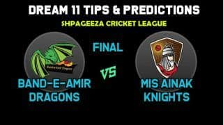 Live Cricket Score BD vs MAK  Final Shapageeza Cricket League 2019 Band-E-Amir Dragons vs Mis Ainak Knights Live Score Ball by Ball Commentary Live Updates Live Streaming