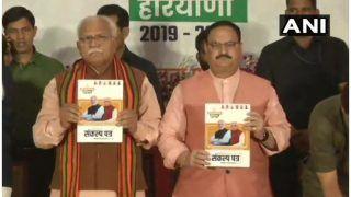 हरियाणा: BJPका घोषणा पत्र जारी, अनुसूचित जातिको बिना गारंटी कर्ज देने, किसानों की आय दोगुनी करने का वादा