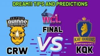 Live cricket score Chitwan Rhinos Women vs Kat Queens Kathmandu, Final, Womens Champions League T20 CRW vs KQK