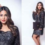 Hina Khan Wears a Black Blingy Metallic Dress And Makes Sunday Super Hot