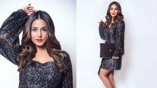 Hina Khan Wears a Black Blingy Metallic Dress And Makes Sunday Super Hot