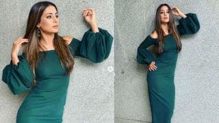 Hina Khan Looks Like a Hot Bomb in Bottle Green Gown With Balloon Sleeves (PICS)
