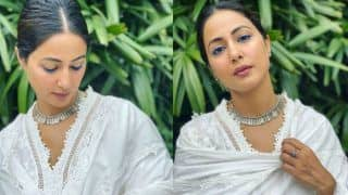 Hina Khan Looks Ethereal in Her White Chikankari Suit And That Blue Eye-Liner is a Winner - Viral Photos